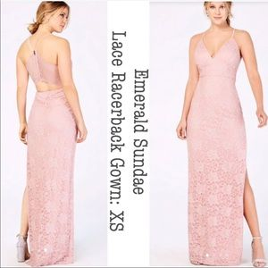 Emerald Sundae Pink-Lace Racerback Gown: XS/SM